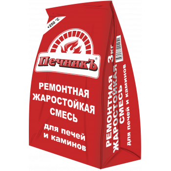 """Ремонтная  смесь для  печей и каминов """"Печникъ"""" (3кг) / упаковка - 6 шт."""